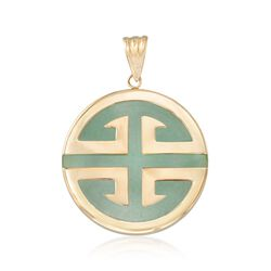 "Green Jadeite Jade ""Longevity"" Chinese Symbol Circle Pendant in 14kt Gold , , default"