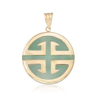 "Green Jadeite Jade ""Longevity"" Chinese Symbol Circle Pendant in 14kt Gold, , default"