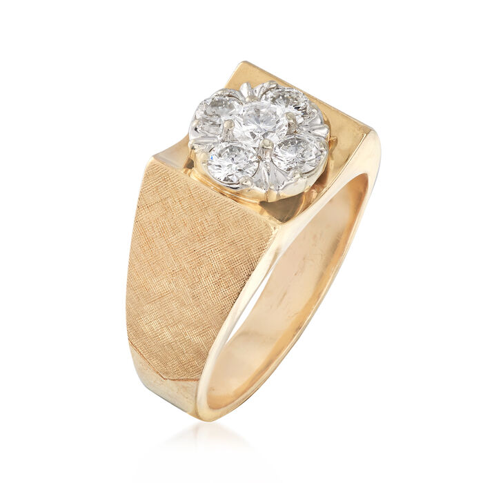 C. 1970 Vintage Men's 1.10 ct. t.w. Diamond Cluster Ring in 14kt Yellow Gold