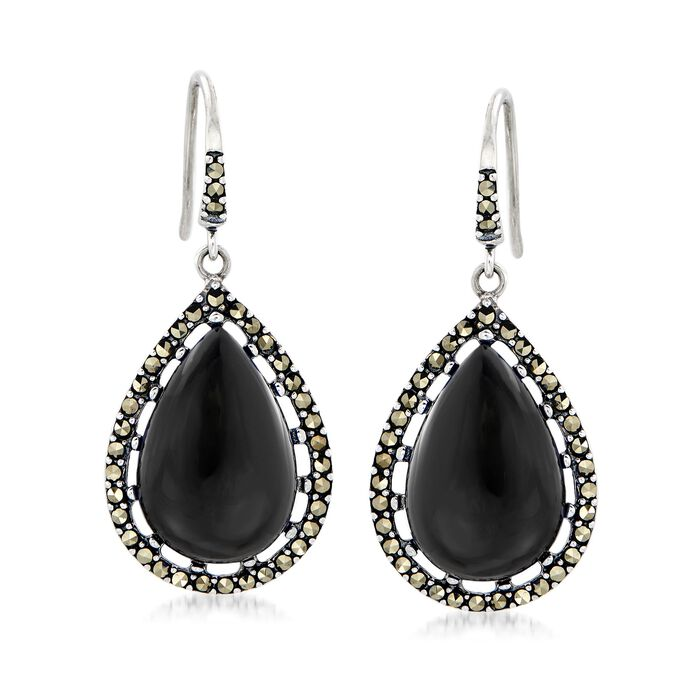 Black Onyx and Marcasite Teardrop Earrings in Sterling Silver, , default