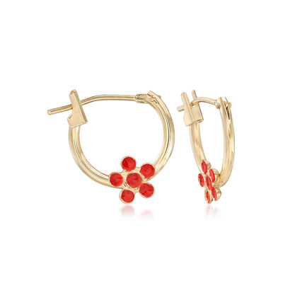 Child's 14kt Yellow Gold Flower Huggie Hoop Earrings with Enamel , , default