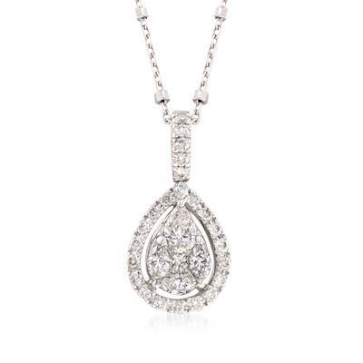 .63 ct. t.w. Diamond Pear-Shaped Pendant Necklace in 14kt White Gold, , default