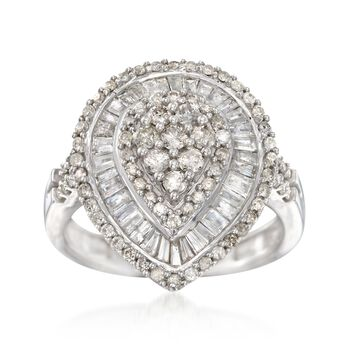 1.50 ct. t.w. Baguette and Round Diamond Ring in Sterling Silver. Size 7, , default