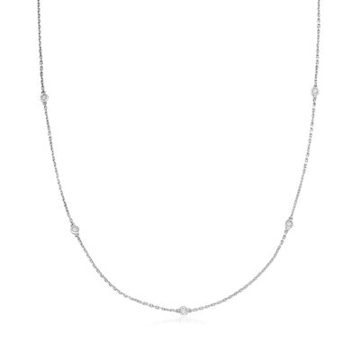 .25 ct. t.w. Bezel-Set Diamond Station Necklace in Sterling Silver