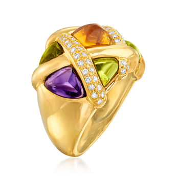 C. 1980 Vintage 5.00 ct. t.w. Multi-Gemstone and .46 ct. t.w. Diamond Basketweave Ring in 18kt Yellow Gold. Size 7