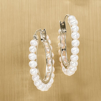 3-3.5mm Cultured Pearl Hoop Earrings in Sterling Silver, , default
