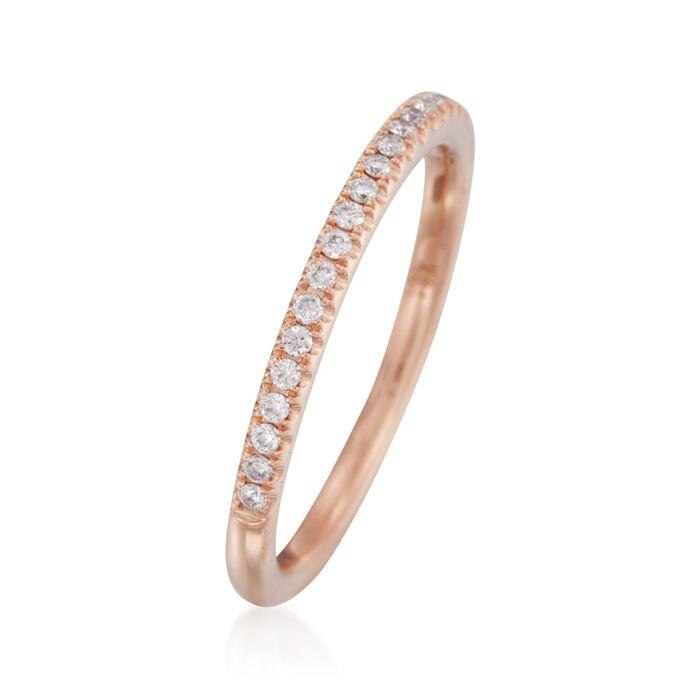 Henri Daussi .15 ct. t.w. Pave Diamond Wedding Ring in 18kt Rose Gold