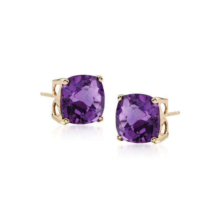 3.90 ct. t.w. Amethyst Stud Earrings in 14kt Yellow Gold, , default