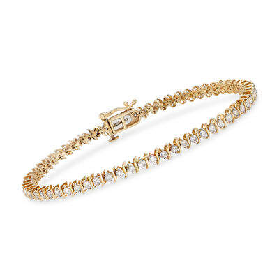 2.00 ct. t.w. Diamond S-Link Tennis Bracelet in 14kt Yellow Gold, , default