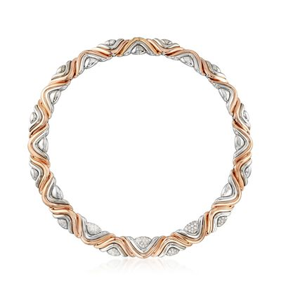 C. 1980 Vintage House of Gubelin 1.60 ct. t.w. Diamond Swirl Collar Necklace in 18kt Two-Tone Gold, , default