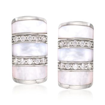 """Belle Etoile """"Regal"""" Mother-Of-Pearl and .30 ct. t.w. CZ Earrings in Sterling Silver, , default"""