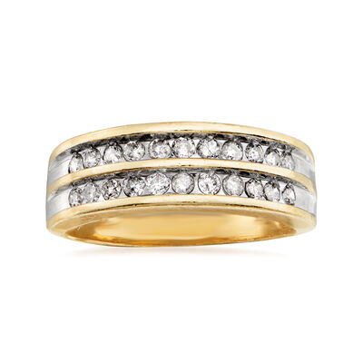 C. 1980 Vintage .50 ct. t.w. Diamond Double Row Ring in 14kt Yellow Gold, , default