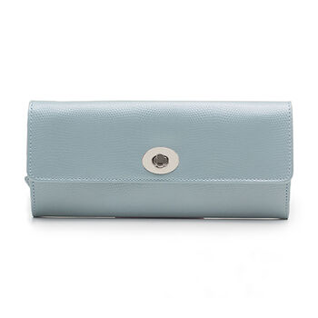 """Wolf """"London"""" Ice Blue Leather Jewelry Roll"""
