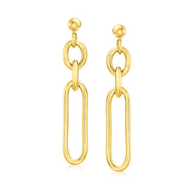 Italian 18kt Gold Over Sterling Paper Clip Drop Earrings