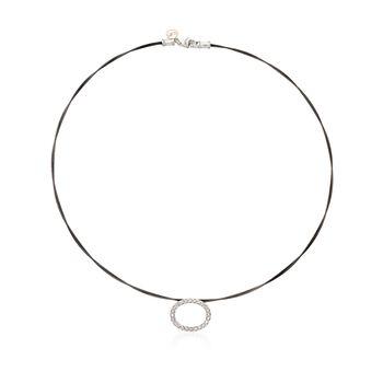 "ALOR ""Noir"" .21 ct. t.w. Diamond Oval Black Cable Necklace With 18kt Two-Tone Gold. 17.5"", , default"