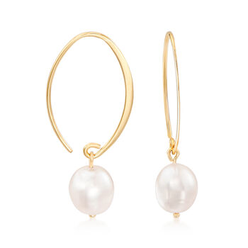 8mm Cultured Pearl Loop Earrings in 14kt Yellow Gold, , default