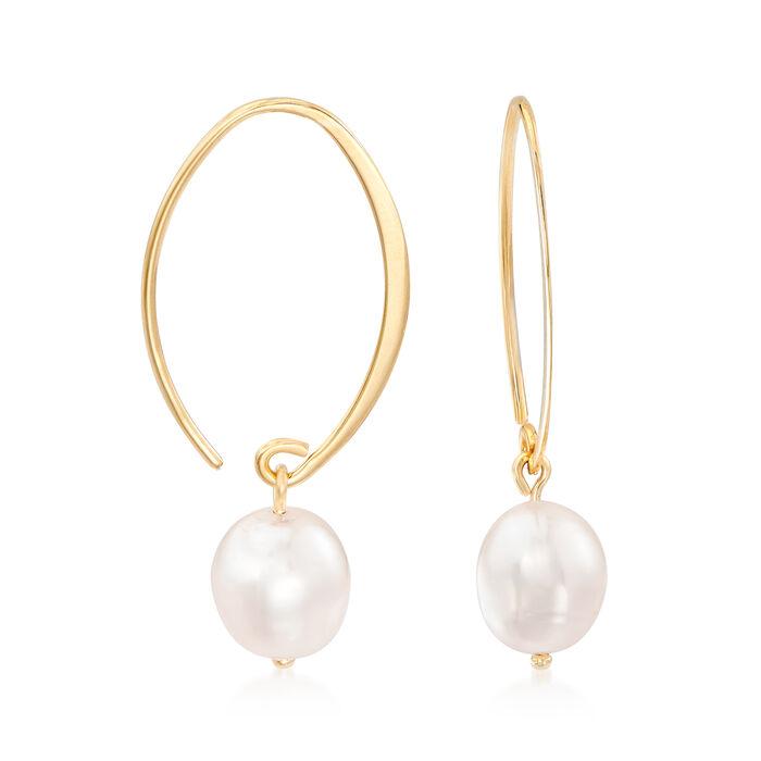 8mm Cultured Pearl Loop Earrings in 14kt Yellow Gold