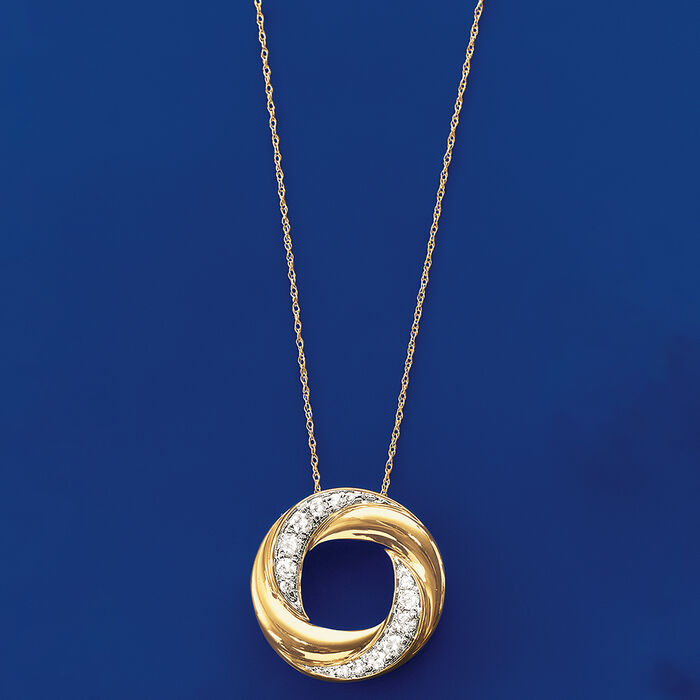 .50 ct. t.w. Diamond Twisted Circle Necklace in 14kt Yellow Gold
