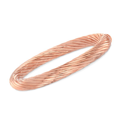 C. 1990 Vintage 18kt Rose Gold Swirled Bangle Bracelet, , default