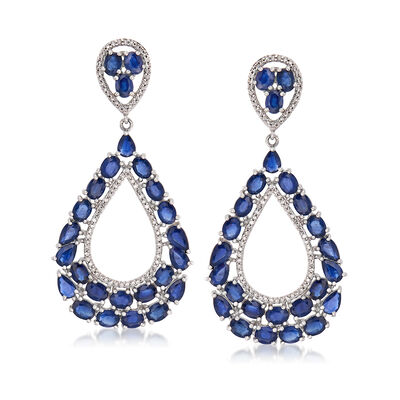 11.40 ct. t.w. Sapphire and .48 ct. t.w. Diamond Drop Earrings in 14kt White Gold, , default