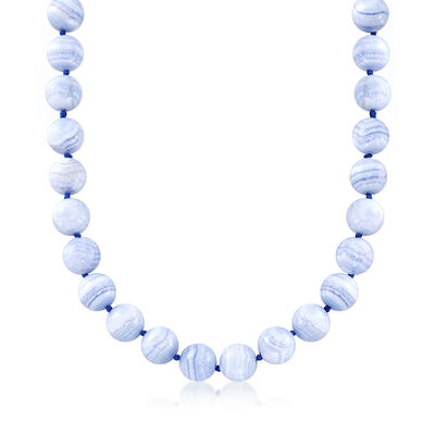 Blue Agate Bead Necklace with Sterling Silver, , default