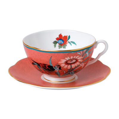 "Wedgwood ""Paeonia Blush"" Coral Teacup and Saucer Set"