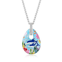"Belle Etoile ""Dolphin"" Blue and Multicolored Enamel Pendant With .51 ct. t.w. CZs in Sterling Silver, , default"