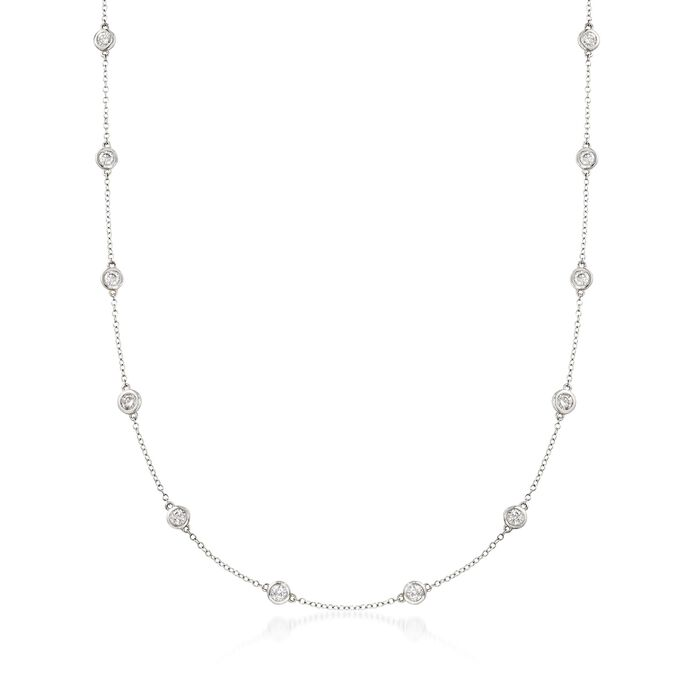 1.50 ct. t.w. Bezel-Set Diamond Station Necklace in 14kt White Gold