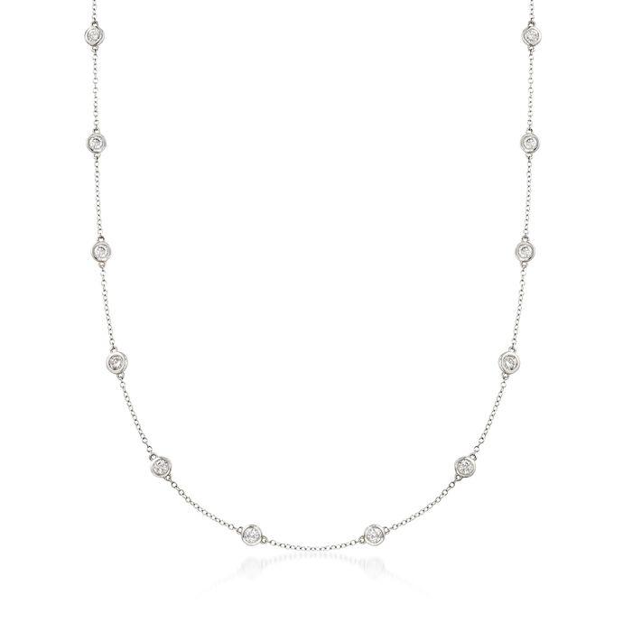 1.50 ct. t.w. Bezel-Set Diamond Station Necklace in 14kt White Gold, , default