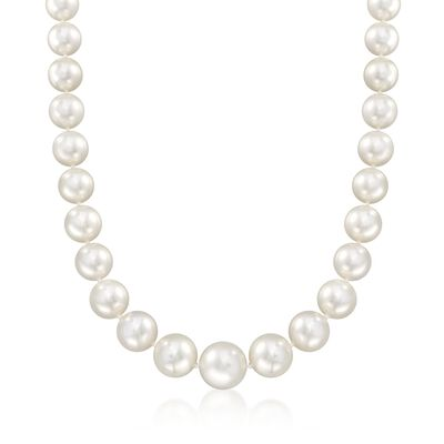 12-17mm Cultured South Sea Pearl Necklace With Diamond Accents in 14kt White Gold, , default