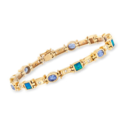 C. 1990 Vintage Black Opal, 2.10 ct. t.w. Tanzanite and .25 ct. t.w. Diamond Bracelet in 14kt Yellow Gold, , default