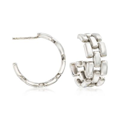 Italian Sterling Silver Panther-Link Style Hoop Earrings, , default