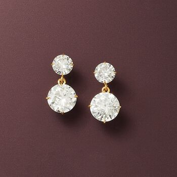 3.50 ct. t.w. CZ Double Drop Earrings in 14kt Yellow Gold