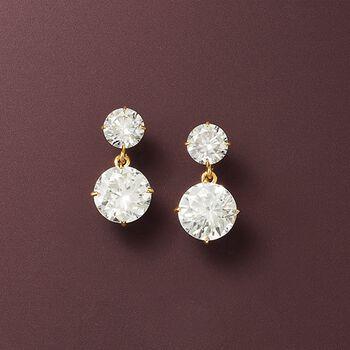3.50 ct. t.w. CZ Double Drop Earrings in 14kt Yellow Gold , , default