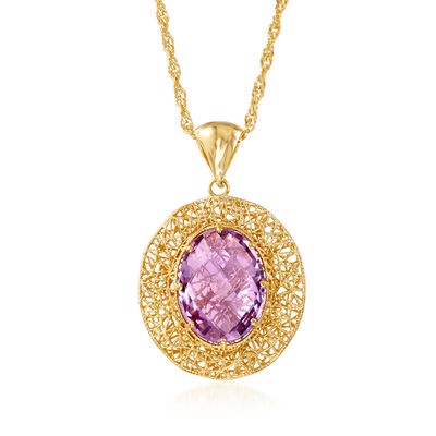Italian 8.50 Carat Amethyst and 18kt Gold Over Sterling Openwork Pendant Necklace