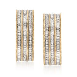 "1.00 ct. t.w. Multi-Row Diamond Hoop Earrings in 18kt Gold Over Sterling. 7/8"", , default"