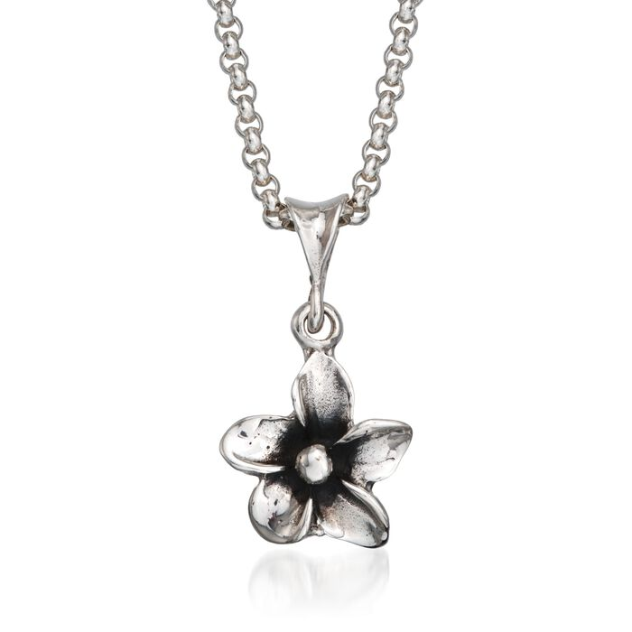 "Zina Sterling Silver ""Hibiscus"" Floral Pendant Necklace. 17"""