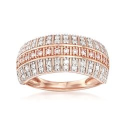 .50 ct. t.w. Pink and White Diamond Three-Row Ring in 14kt Rose Gold, , default