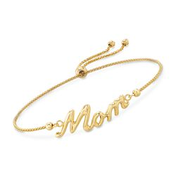 "14kt Yellow Gold ""Mom"" Bolo Bracelet, , default"