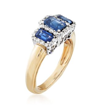 1.60 ct. t.w. Sapphire and .34 ct. t.w. Diamond Three-Stone Ring in 14kt Two-Tone Gold, , default