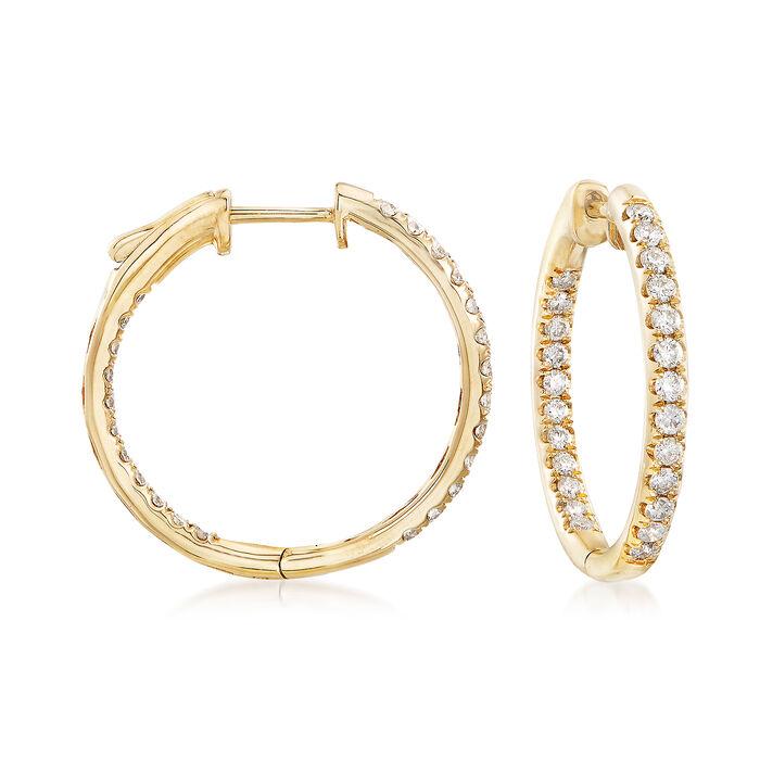 """1.00 ct. t.w. Inside-Outside Diamond Hoop Earrings in 14kt Yellow Gold. 7/8"""""""