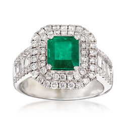 1.64 ct. t.w. Diamond and 1.30 Carat Emerald Ring in 18kt White Gold, , default