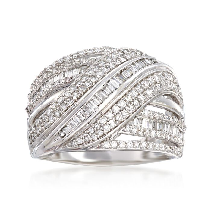 1.00 ct. t.w. Diamond Multi-Row Ring in 14kt White Gold, , default