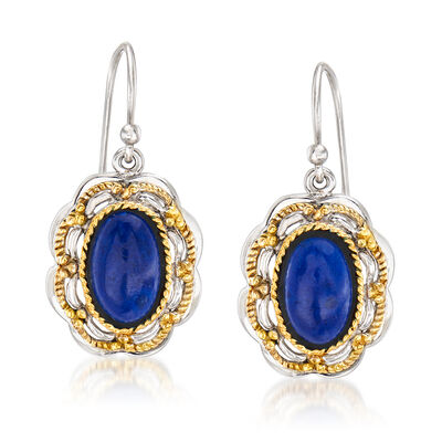 Lapis Drop Earrings in Sterling Silver and 14kt Yellow Gold, , default