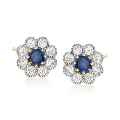 .40 ct. t.w. Sapphire and .27 ct. t.w. Diamond Flower Earrings in 14kt Yellow Gold, , default