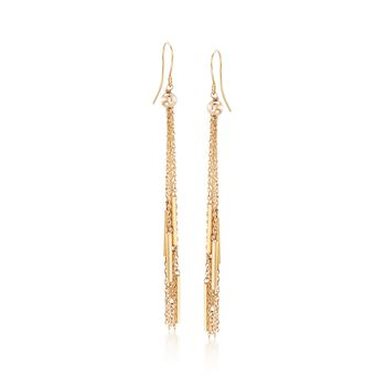 14kt Yellow Gold Bead and Chain Tassel Drop Earrings, , default