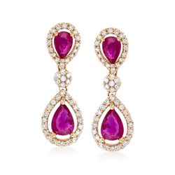2.30 ct. t.w. Ruby and .80 ct. t.w. Diamond Drop Earrings in 14kt Yellow Gold, , default