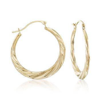 """14kt Yellow Gold Twist Hoop Earrings. 1"""", , default"""