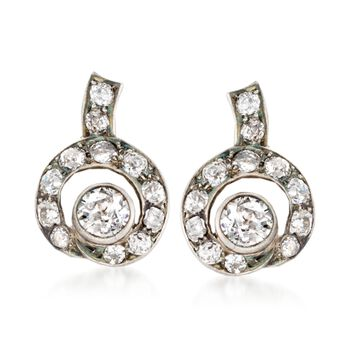 C. 1880 Vintage 3.10 ct. t.w. Diamond Clip-On Earrings in 14kt White Gold and Sterling Silver , , default