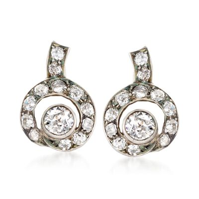 C. 1880 Vintage 3.10 ct. t.w. Diamond Clip-On Earrings in 14kt White Gold and Sterling Silver, , default
